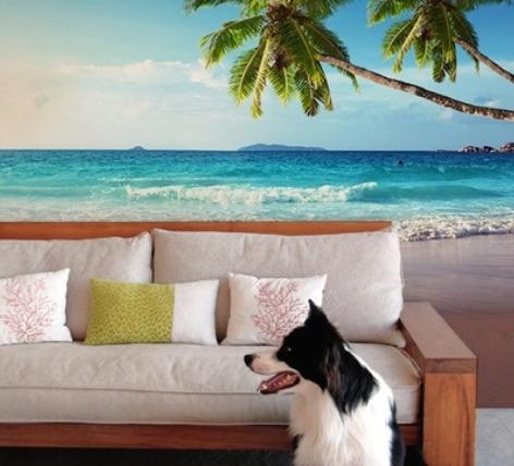 Karibik-Tapete im Wohnzimmer (Bild: Pixers)